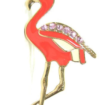 Pink Flamingo Ring Size 6.5 Tropical Crystal Bird Neon RH18 Miami Florida Cocktail Fashion Jewelry
