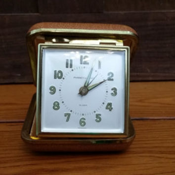Vintage Phinney Walker Travel Alarm Clock Great Travel Decor Item Altered Art Collage Jewelry Supply