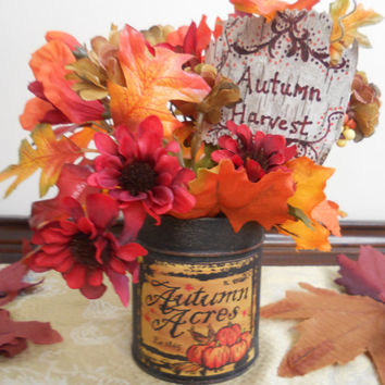 Rustic Fall Floral Arrangement, Sunflowers, Fall Leaves, Birch Tag, Autumn Decor, Fall Centerpiece, by PebbleCreekDesigns
