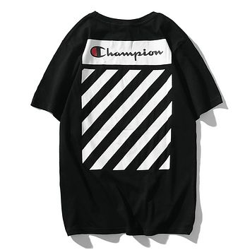 Off White & Champion Fashion New Summer Letter Stripe Print Women Men Top T-Shirt Black