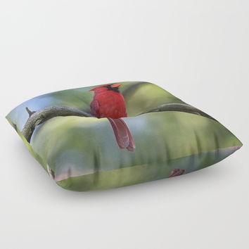 Cardinal Series I Floor Pillow by Theresa Campbell D'August Art