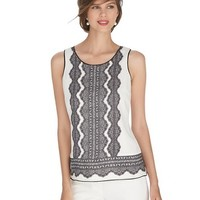 White House | Black Market Sleeveless Lace Print Shell Top