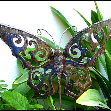Metal Plant Stake - Butterfly - Outdoor Garden Decor - Metal Plant Marker, Plant Stick, Haitian art, Yard Art. Garden Markers - PS-1786