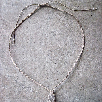 Natural Raw Crystal Hemp Necklace