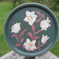 Vintage Round Tole Serving Tray--Jade Green with Creamy White Flowers--Chippy Shabby Cottage Chic Tray--Retro Country Farmhouse--Barware--