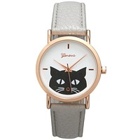 Rose Gold Stainless Steel and Grey Leather Cat Print Watch