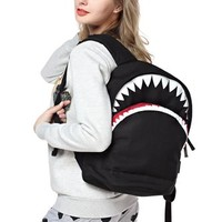 FunShop Women's Shark Shape Black PU Backpack School Bag F1104