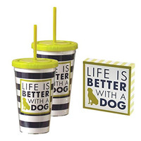 Dog Lover's Gift Set - Two Plastic Jumbo Thermal Travel Tumblers with Straws and Decorative Box Sign (Life Is Better With A Dog)