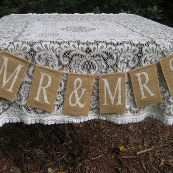 Mr. and Mrs. Burlap Sign Rustic Wedding Decor Banner