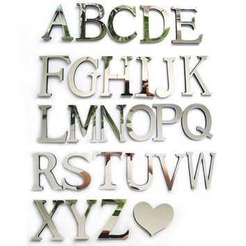 Hot New Style Wedding Love Letters Home Decoration English  Mirror Wall Stickers Alphabet Home Decor For Wall