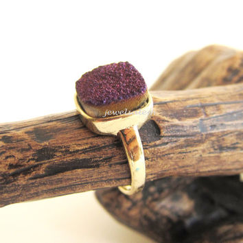 Ombre Druzy Ring Gold Purple Brown Sand Geode Ring Gem Stone Gemstone Drusy Mineral Rustic Statement Crystal Raw Quartz Agate C1