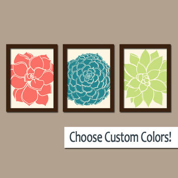 FLOWER Wall Art Artwork Coral Teal Lime Bedroom Bathroom Picture Floral Dahlia Bloom Petals Set of 3 Trio Prints Home Decor Three
