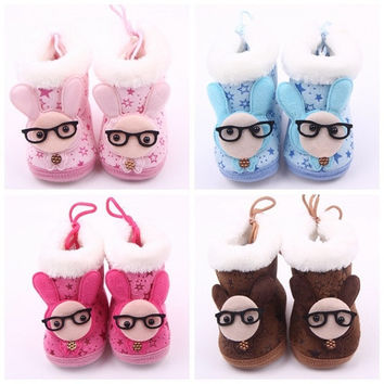 New Baby Warm Winter Shoes Cute Rabbit Star Print Snow Boots Boy Girl First Walkers Toddler Non-Slip Soft = 1946779652