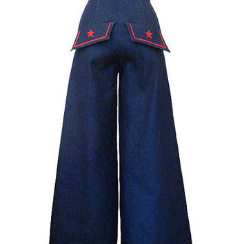 Sailor High Waist Wide Leg Stretch Denim Pants