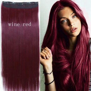 2017 Perfect Hair Color - Wine Red Straight Clip in Hair Extensions (Size: 26 inch Straight)