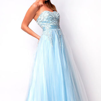 Baby Blue Strapless Fully Sequined & Rhinestone Bodice Ball Gown - Unique Vintage - Cocktail, Pinup, Holiday & Prom Dresses.