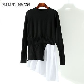 PEILING DRAGON 2018 spring student casual o-neck long sleeve splice asymmetric sweep knitted bottoming dress T1674