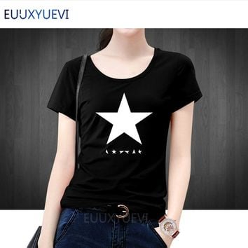 2018 summer David Bowies black star Women t shirts 100% cotton high quality streetwear casual hipster tops tees brand t-shirt