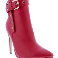 Buckled Up Boots - Red