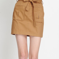 Khaki Bowknot Pocket Design Tied Skirt