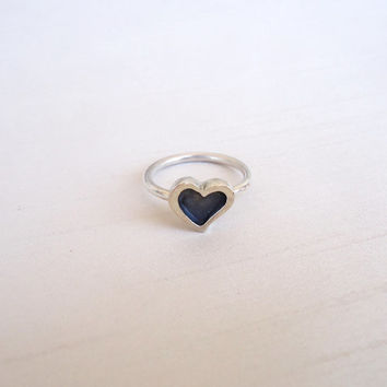 Sterling Silver Heart Ring - Little Heart Ring - Contemporary Jewelry - Simple Unique and Original ring - Different Sizes made to order