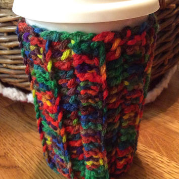 16 to 20 oz cup cozie, gift idea, party favor, game or door prize, hand crochet koozie, red, blue, yellow, green, brown, orange,