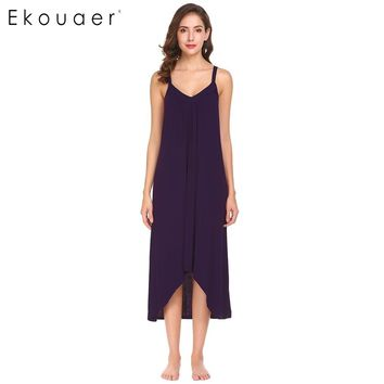 Ekouaer Women Casual Sleepwear Nightgown V-Neck Spaghetti Strap Irregular Hem Solid Sleep Dress Nightwear Female Home Clothing