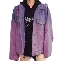 Purple Gradient Distressed Denim Jacket