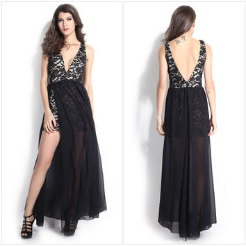womens maxi deep v neck evening party dress long prom vestido open back ball sundress backless black lace robe woman summer gown