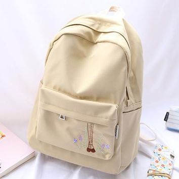 School Backpack trendy 2018 pretty style girls backpack cartoon embroidery women bag casual  AT_54_4