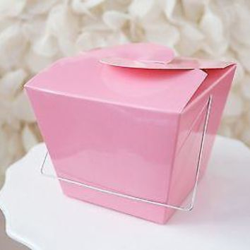 12 Pink Chinese Small Take Out Boxes Cupcake Candy Holders Easy Close Top Wedding Baby Shower Favors