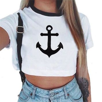 New Fashion brand Summer style Anchor printed t shirt women tops t-shirt O-neck cotton tee