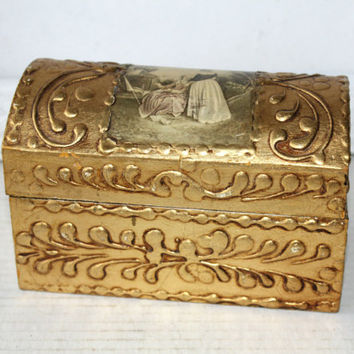 Vintage Humpback Gold Trinket Box with Raised Swirl Design , Ornate Humpbacked Wooden Recipe Box  with Picture on Top , Gold File Box