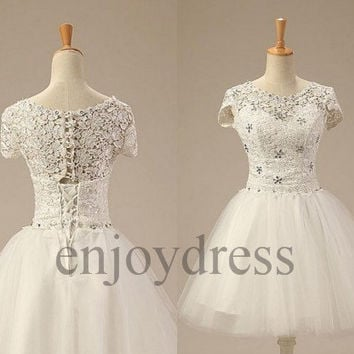 Custom Ivory Short Lace Tulle Prom Dresses Short Sleeves Evening Dresses Fashion Party Dresses Wedding Party Dresses Bridesmaid Dresses 2014