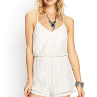 FOREVER 21 Laurel Canyon Crochet Romper Cream