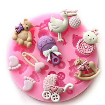 Cute Baby Silicone Mold Cake Tool Fondant Cake Decorating Clay DIY Tool Baby Accessories Group Factory Derict Sale