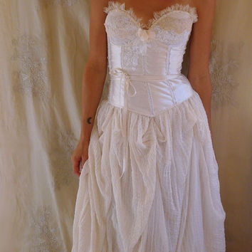 Woodland Nymph Wedding Gown... whimsical fairy boho bustier corset fantasy hippie country shabby chic eco friendly