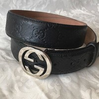 GUCCI Logo Buckle Calfskin Leather Belt 95-38 Black