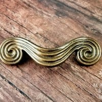 Antiqued Gold Drawer Pull Art Deco Dresser Pulls Vintage KBC Drawer Pulls Spiral Scroll Cabinet Pull Mid Century Modern Furniture Pulls