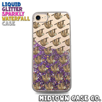 Sloths Hanging in Tree Branch Pattern Fun Cute Liquid Glitter Waterfall Quicksand Sparkles Glitter Bomb Bling Case for iPhone 7 7 Plus 6s 6