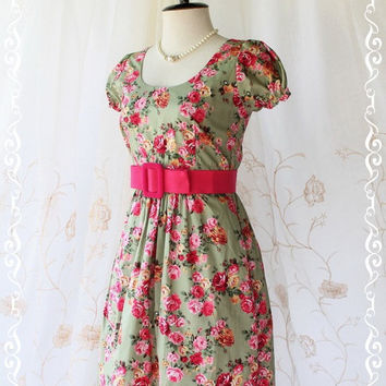 Baby Doll Dress Dolly Dress - Adorable Lady Dress Dolly Baby Doll Sleeve Elegant Floral Print Olive Green Fabric S-M
