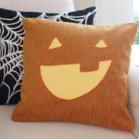 Jack o Lantern Pillow Cover Pumpkin Cute Halloween Decor 18 x 18