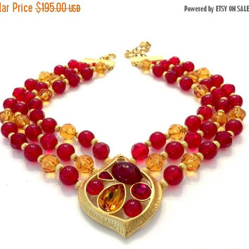 Givenchy Beaded Pendant Necklace, Faceted Glass Beads, Cranberry and Apricot, Textured Gold Tone, Vintage Jewelry,  Statement Necklace
