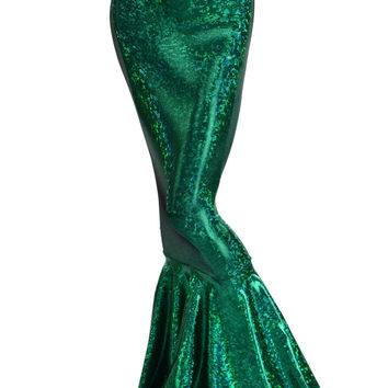 Green Holographic Metallic High Waist Full Length Mermaid Skirt