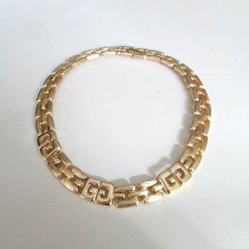 Givenchy G Gold Choker Collar Necklace // Vintage 1970s High Fashion Designer Jewelry Accessory