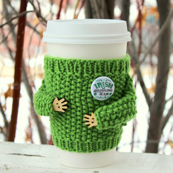 St. Patrick's Day cup sweater Irish drinking team button. Knit coffee cozy Green wool cozy. Eco-friendly Starbucks cup sleeve. Gift for him