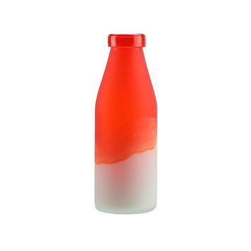 "10.25"" Flame Orange and Frosted White Milk Bottle Style Hand Blown Glass Vase"