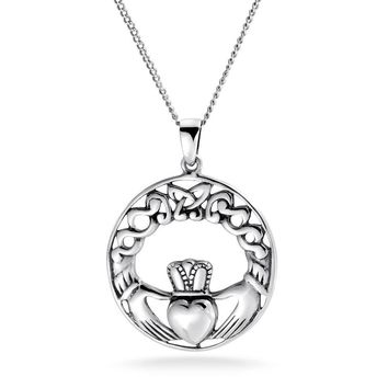 Celtic Knot Claddagh Round Circle Pendant Sterling Silver Necklace