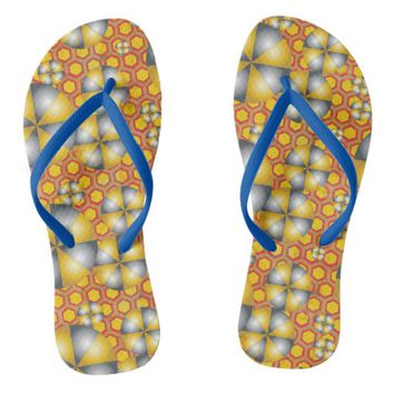 Circles Pattern on a Honeycomb Background Flip Flops