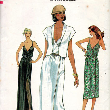 Disco Style Sexy Dress Vogue 7334 Sewing Pattern Camisole Top Slim Fit Skirt High Slit Shawl Collar Jacket Uncut Bust 34